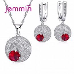 Prosty styl okrągły 925 Sterling Silver naszyjniki kolczyki zestaw biżuterii z drobnym czerwonym kryształem dla kobiet Lady Part