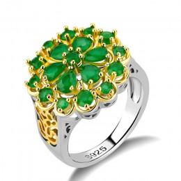 Cellacity luksusowy kwiat projekt drążą srebro 925 biżuteria kamienie pierścionek ze szmaragdem dla kobiet kreatywnych kobiet pr