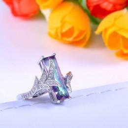 Jellystory Trendy srebro 925 biżuteria pierścionki z kształt prostokąta zielony Topaz kamień pierścień dla kobiet Wedding Party