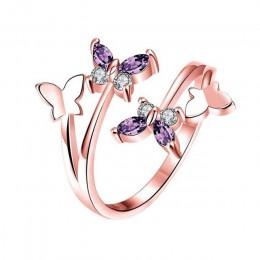 Bague Ringen srebro 925 biżuteria pierścionek koreański styl ametyst kamień kształt kwiatu otwarcie regulowany pierścień dla kob