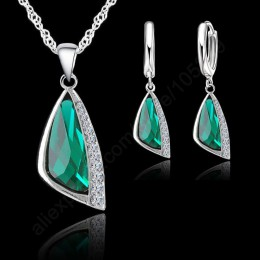 Nowy 925 Sterling Silver austriacki kryształowy naszyjnik zestaw kolczyków typu koła zestaw biżuterii kryształowej prezent w pos