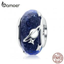 Bamoer Nighty Sky koraliki ze szkła murano dla kobiet 925 srebro galaktyką gwiazdą Charm fit oryginalna srebrna bransoletka wężo