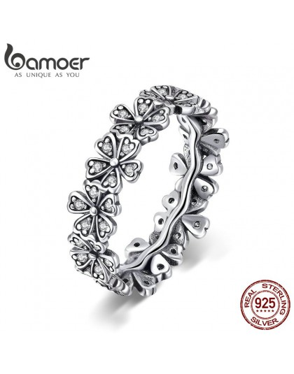 BAMOER Trendy nowy 100% 925 Sterling Silver do układania w stos Daisy kwiat pierścienie dla kobiet Sterling srebrna biżuteria śl