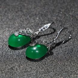 Cellacity Vintage Silver 925 biżuteria kropla wody w kształcie kamieni szlachetnych kolczyki dla kobiet Emerald Ruby kolczyki w