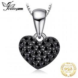JPalace serce naturalny czarny spinel naszyjnik 925 Sterling Silver Gemstones Choker komunikat naszyjnik kobiety bez łańcucha