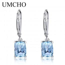 UMCHO oryginalna 925 Sterling Silver Sky niebieski topaz spadek kolczyki elegancki kamień ślub biżuteria zaręczynowa dla kobiet