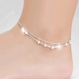 OMHXZJ hurtownie moda europejska kobieta dziewczyna Party prezent urodzinowy dwie warstwy gwiazda koraliki dwie linie 925 Sterli