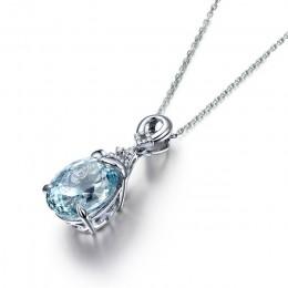 Bague Ringen naszyjnik dla kobiet srebro 925 biżuteria łańcuszek do obojczyka akwamaryn wisiorek syrenka Ocean Valentine Fashion