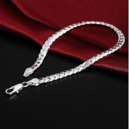 LEKANI oświadczenie dwa kolory 925 srebro płaskie wąż łańcuch bransoletka dla kobiet dziewczyna najnowszy Fine Jewelry S-B33