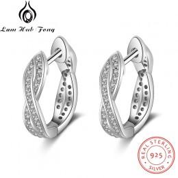 Klasyczne prawdziwe 925 Sterling srebrne kolczyki koła cyrkonia Twisted kolczyki dla kobiet srebro 925 Fine Jewelry (Lam Hub Fon