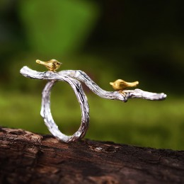 Lotus Fun prawdziwe 925 Sterling Silver oryginalny Handmade Fine Jewelry regulowany pierścień 18K złoty ptak na gałęzi pierścien