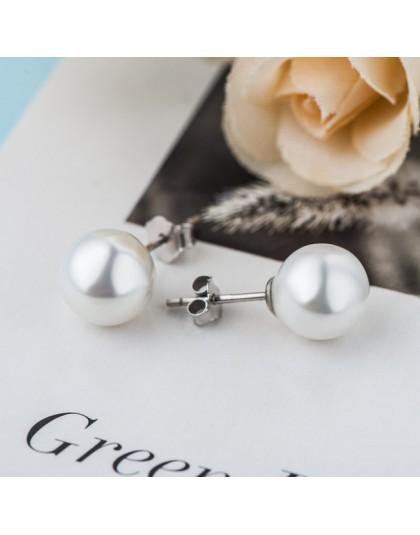 Cellacity klasyczna okrągła płytka kolczyki dla kobiet biały różowy srebrny 925 biżuteria wdzięku delikatne kolczyki Party preze