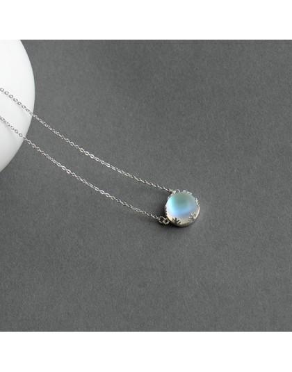 Thaya 45cm kryształowy kamień s925 srebrny Aurora naszyjnik Halo skala lekki las naszyjnik damski z wisiorkiem dla dziewczyny el