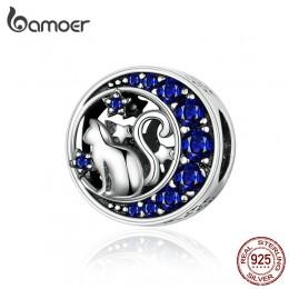 BAMOER srebro S925 koraliki srebro 925 niebieski księżyc niegrzeczny kot Pet Charms dla bransoletka bransoletka biżuteria zrób t