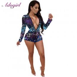 Adogirl kolorowe cekiny głębokie V Neck Playsuit kobiety Sexy płaszcza z długim rękawem Night Club kombinezon na przyjęcie kombi