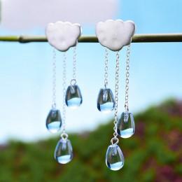 Lotus Fun prawdziwe 925 srebro naturalne kryształowe klejnoty Fine Jewelry etniczne chmury opadające kolczyki z długimi frędzlam
