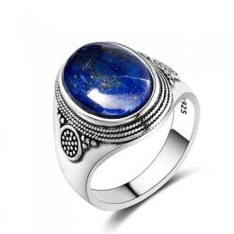 Nasiya luksusowe Vintage srebro rRing 10x14MM duży owalny lazuryt pierścienie dla mężczyzn biżuteria damska rocznica
