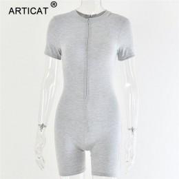Arctic cat lato jesień kombinezon kobiety pajacyki z długim rękawem Zipper Bodycon Playsuit czarny elastyczny Casual kombinezony
