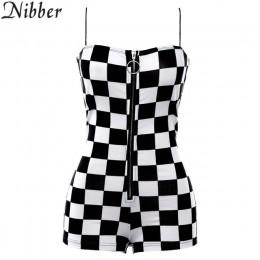 Nibber nowy damski dziki kombinezon moda dom zamek błyskawiczny do odzieży czarny biały plaid Playsuits panie wypoczynek wakacje