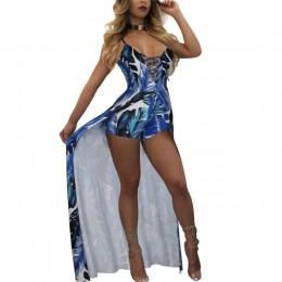 Elegancki pasek Boho kombinezon plażowy Romper kobiety Backless zasznurować Combishort Femme panie nadruk z piór kombinezony kom