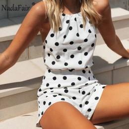 Nadafair szyfonowy kombinezon 2020 biała Polka Dot letnia plaża Off ramię Backless Halter Sexy krótki kombinezon kobiet