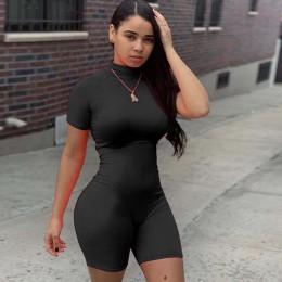Neonowe seksowne kombinezony jednoczęściowe dla kobiet z krótkim rękawem Skinny letni kombinezon jednoczęściowy wysoki elastyczn