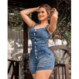 Wendywu Sexy Lady Spaghetti otwory na pasek Bodycon jeansowe na co dzień Playsuit kobiety przycisk dżinsy letnie pajacyki kombin