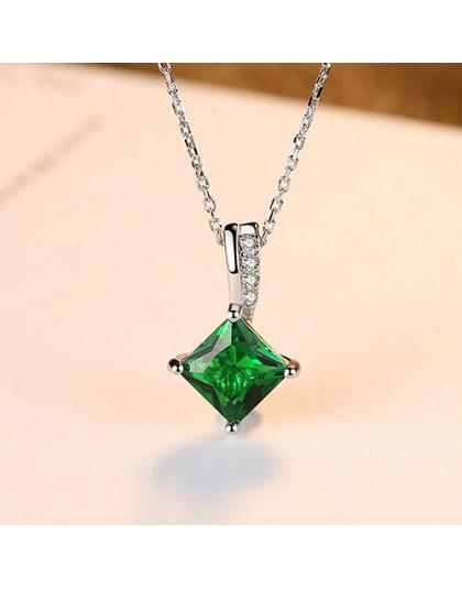 CZCITY Charm naszyjnik łańcuch szmaragdowy zielony cyrkonia popularna biżuteria 925 srebro naszyjnik dla kobiet prezent