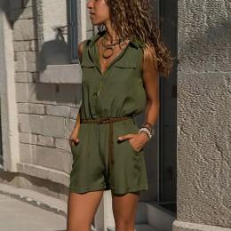 Letni krótki kombinezon damski klapy guziki Romper Plus rozmiar Playsuit wysoki gorset panie jednolity kolor kombinezon bez ręka