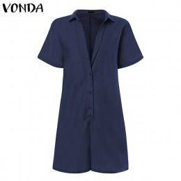 VONDA pajacyki damskie kombinezony dorywczo krótkie spodnie 2020 lato w stylu Vintage kombinezony Sexy V Neck z krótkim rękawem