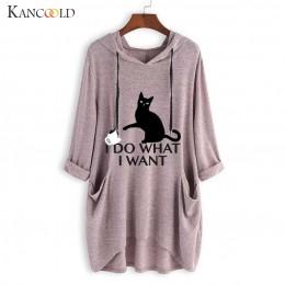 KANCOOLD koszulka top damska na co dziń z nadrukiem ucho kota z kapturem koszulka z długim rękawem kieszeń nieregularna, modna n