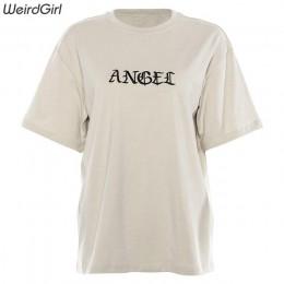 Weirdgirl kobiety haft anioła Casual modne t-shirty list z krótkim rękawem O-Neck Khaki luźne elastyczne kobiece koszulki lato n