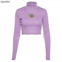 Weirdgirl kobiety moda codzienna z długim rękawem golfem fioletowy jesień list tees eleganckie bluzy kobiece swetry luźne nowe