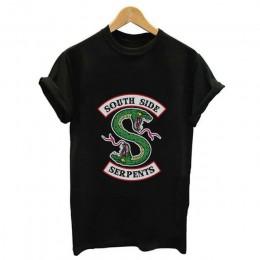 Riverdale T koszula kobiety letnie koszulki w stylu harajuku South Side węże koszulka damska Riverdale nadruk z wężem Funny Vint