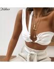 Nibber kobiet jednolity kolor camisole metalowe ozdobne zakrętka tubki pojedynczy pasek na ramię kamizelka 2018 sexy lato hot od