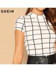 SHEIN czarno-biała chusta Peplum stójka obroża z wiązaniem Top bawełniany materiał w kratkę swetry letnia Casual koszulka damska