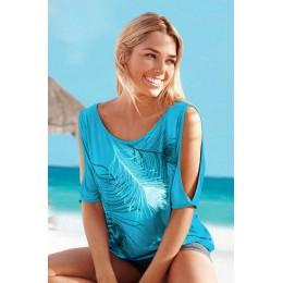 Rozcięcie rękaw zimny nadruk z piór na ramię kobiety w stylu casual, letnia koszulka dziewczyna 2016 Tee Tshirt luźna koszulka t
