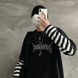 Lychee patchworkowa, w stylu harajuku w paski dla kobiet fałszywe 2 sztuk kobiety T koszula list drukuj z długim rękawem Lady ko