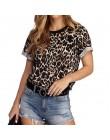 Kobiety lato T koszula 2020 moda Leopard T koszula z krótkim rękawem Casual topy Tees Plus rozmiar seksowna sukienka T-shirt Cam