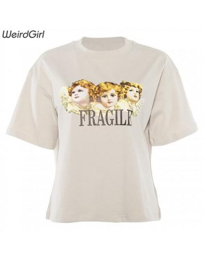 Weirdgirl kobiety dziecko anioł drukowanie dorywczo modne t-shirty list z krótkim rękawem O-Neck Khaki luźne kobiece koszulki la
