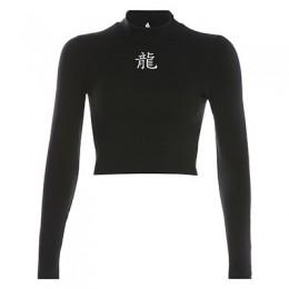 Rapwriter chiński styl Element smok odblaskowe drukuj Stretch czarny T-Shirt kobiety 2019 Streetwear z długim rękawem podstawowe