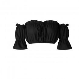 Krótkie bluzki damskie 2020 lato latarnia rękaw sexy bez ramiączek topy plażowe plus rozmiar czerwony czarny biały ruched krótki