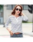 Damska koszulka bawełniana z krótkim rękawem damska koszulka w paski letnia wiosna jesień damska Blusa biała Plus rozmiar modny
