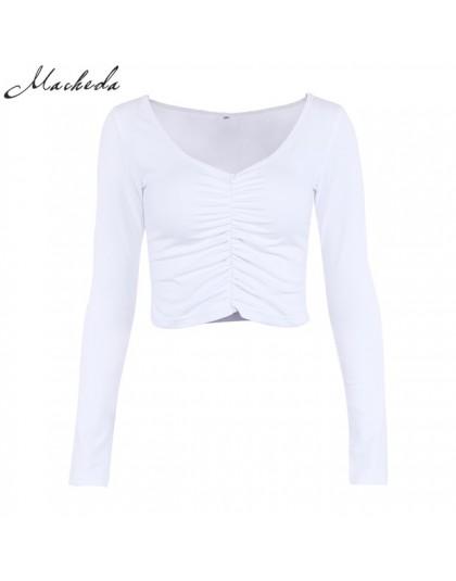 Macheda 2018 nowych moda bawełna białe kobiety T koszula Sexy V Neck z długim rękawem do klubu na imprezę koszulki Casual kobiet