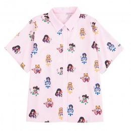 Gagarich Sailor Moon różowe koszule z krótkim rękawem Harajuku T koszula kobiety ubrania 2019 Cosplay śliczne kawaii bluzki