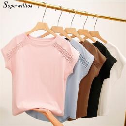 T-shirt damski topy damskie 2020 letnie bawełniane koszulki dla kobiet czarny biały różowy Plus rozmiar Tshirt z krótkim rękawem