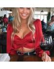 Nibber jesień czerwona szyfonowa z długim rękawem krótkie bluzki damskie 2019hot sprzedaż sexy głęboki dekolt biurowa, damska ko
