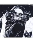 InsGoth kobiety luźny czarny t-shirty Gothic Grunge punk harajuku czaszka Peinted t-shirty impreza z okazji halloween długie top