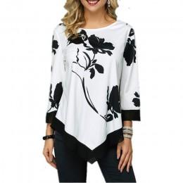2019 nowa wiosna jesień Plus rozmiar kobiet t-shirty topy luźne dorywczo trzy czwarte O-Neck kwiatowy Print nieregularna dla kob