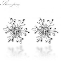 Anenjery 925 Sterling Silver Hollow Snowflake cyrkon kolczyki sztyfty z kwiatem dla kobiet prezent na boże narodzenie brincos oo